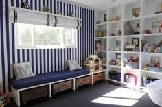 Kids playroom storage ideas striped walls and different storage system for playroom houses interior design pictures . Playroom Storage, Playroom Design, Kids Storage, Playroom Decor, Bedroom Storage, Storage Ideas, Storage Crates, Toy Storage, Playroom Ideas