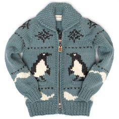 Penguin - Country Blue - not free Fair Isle Knitting, Hand Knitting, Knitting Ideas, Knitting Patterns, Cowichan Sweater, Sweater Cardigan, Anchor Sweater, Hand Knitted Sweaters, Knitting Sweaters