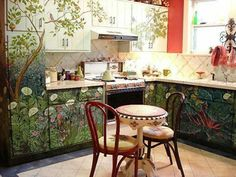 Love this forest kitchen. What a beautiful way to make your kitchen feel magical. If we got gesso and primed the cabinets with it we could make a beautiful painting.