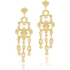 Icz Stonez Goldplated Cubic Zirconia Chandelier Earrings (€23) ❤ liked on Polyvore featuring jewelry, earrings, cz dangle earrings, cubic zirconia earrings, dangle chandelier earrings, cubic zirconia chandelier earrings and 14k cubic zirconia earrings