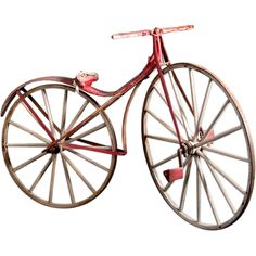 circa 1867  Boneshaker Bicycle  Early bicycle also known as a velocipede (fast foot).  Found in Northern Nevada.  Original red and white paint.