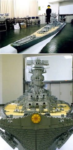 Japanese LEGO craftsman Jun Brick recreated the famous Japanese Battleship Yamato in Lego form (the real World War II-era one, not the space battleship).