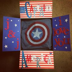 My captain America themed care package! Tried to buy all red, white and blue things to send him!