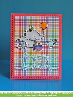 Lawn Fawn - Elphie Selfie, Zig Zag Rectangle Stackables, Big Scripty Words _ card by Lynnette for Lawn Fawn Design Team
