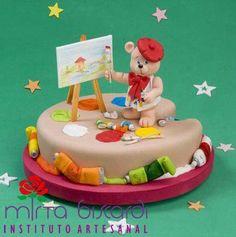 . Art Party Cakes, Cake Art, Art Cakes, Teddy Bear Cakes, Teddy Bears, Cupcake Cookies, Cupcakes, Artist Birthday, Cake Gallery