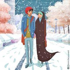 No photo description available. Couple Drawings, Art Drawings, Iran Pictures, Cute Muslim Couples, Islamic Cartoon, Hijab Cartoon, Love In Islam, Islamic Girl, Fake Photo