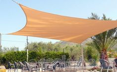 Square Shade Sail in Desert Sand colour at Bar Planet, Pedreguer