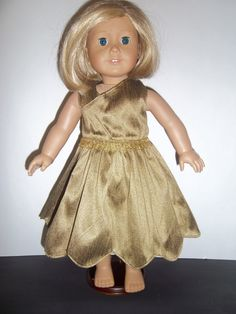 Shimmering Gold 18 doll dress by Krissyde on Etsy, $12.99