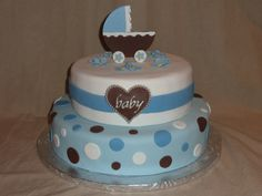 Baby Boy Shower Cake  Would be cute with chevron on the bottom and his name on the heart