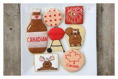 Fun set to celebrate Canada's Birthday. Canada Birthday, Happy Canada Day, Custom Cupcakes, Let Them Eat Cake, Cookie Decorating, Sugar Cookies, Sweets, Moose, Connection