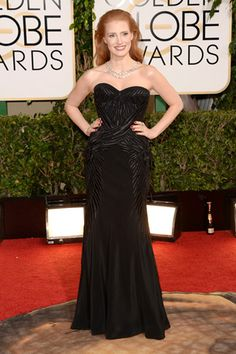 Jessica Chastain, in Givenchy Haute Couture, with Bulgari jewels.