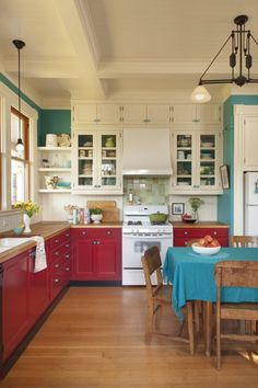turquoise and red. wood floors. tall ceiling. @Jeremy Dew this makes me think of your color scheme.