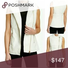 "😍HP😍Quilted Faux Leather Vest Just in!! This is a staple piece for sexy autumn nights! Brand new with tags in original packaging. Beautiful ivory faux leather vest with:  -Notch collar -Sleeveless  -Asymmetrical front zip closure -Front zip pockets -Smocked sides -Quilted construction -Approximately 22"" length   Dry clean.  Faux leather with 100% polyester lining.  Open to offers. No low-balling 😎 Jackets & Coats Vests"