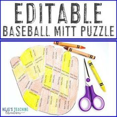EDITABLE Baseball Mitt Puzzle | Create your own activities for Sports Decor! | 1st, 2nd, 3rd, 4th, 5th, 7th, 8th grade, Activities, English Language Arts, Fun Stuff, Games, Homeschool, Math, Middle School, Summer