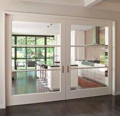 Oversize sliding interior doors with horizontal panes
