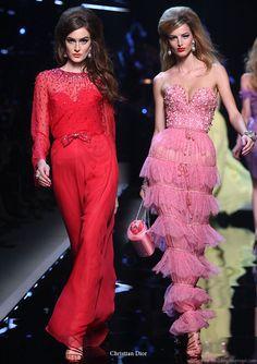 Christian Dior runway show Resort 2011 Shanghai - red long sleeve and pink ruffle dress Lanvin, Givenchy, Balenciaga, Valentino, Dior Fashion, Runway Fashion, Jhon Galliano, Christian Dior, Pink Ruffle Dress