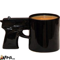 Gun Coffee Mug - The perfect gag gift. When they drink, they're actually putting a gun to their head! :) Need a humourous gift for that special someone? They're going to love this unique gift item. Not just for gun lovers but policemen / cops or anyone in law enforcement. Humorous, novelty gifts and gift ideas for birthdays, Christmas or office parties.