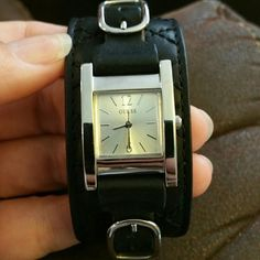 Genuine leather Guess ladies watch Genuine Leather Guess watch.   PERFECT CONDITION!!!!  No scratches, worn twice. *Needs a new battery* Guess Accessories Watches