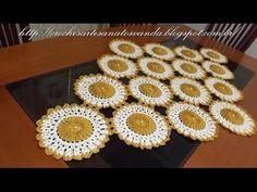 União do motivo do caminho de mesa em crochê c/ pérolas Parte 2/2 - YouTube