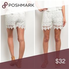 ! Ivory fully lined crochet shorts These crochet shorts features a scalloped hem and full lining.- 100 % Rayon longer length. True to size Shorts