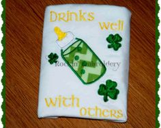 Drinks Well With Others St. Patrick's Day Embroidery Design baby bottle - INSTANT DOWNLOAD