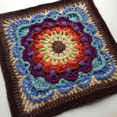 In 2015, some of the most incredibly designed squares I've ever seen came from Polly Plum of Every Trick on the Hook. We just didn't know what we were in for when she introduced this very first square, Fan Dance. Isn't it lovely? All the wonderfully fantastic colors. I just lov