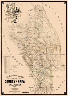 Old County Maps Napa City County California CA Landowner Map 1895 Wedding Invitation Inspiration, Wedding Invitations, Wine Wall Art, Napa California, County Map, Vintage World Maps, City, Genealogy, Invite