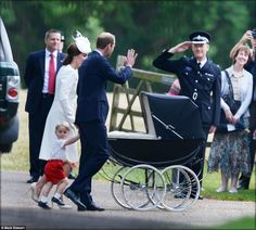 Kate, dressed all in white, pushed Charlotte in a traditional-style black pram while George - who turns two on July 22 - walked alongside his parents. It is the first time they have been seen in public with both of their young children