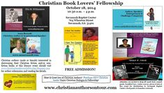 The 4th stop of the 2014 Called to Serve:  Christian Authors on Tour (CAOT) is in Savannah, GA on October 18, 2014!  This literary event is titled the Christian Book Lovers' Fellowship. Visit www.christianbookloversfellowship.blogspot.com for more details!