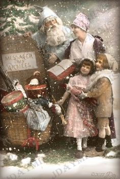 French Christmas Mother and Children with Pere Noel by jdayminis Noel French, French Christmas, Antique Christmas, Christmas Images, Beautiful Christmas, Father Christmas, Christmas Stuff, Christmas Time, Christmas Decor