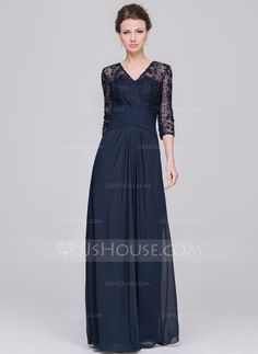 A-Line/Princess V-neck Floor-Length Chiffon Lace Mother of the Bride Dress With Ruffle (008058419) - JJsHouse