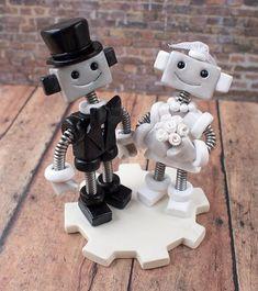 Robot Wedding Cake Topper READY TO SHIP Cute Bots Classic Top