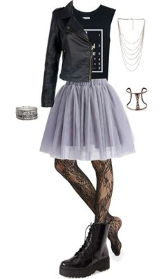 inspired for a date by effy-stonem-style featuring sheer black stockingsTorn t shirt / 100 leather jacket / Chicwish tulle mini skirt / Express sheer black stocking / Jeffrey Campbell short leather boots, $195 / Forever 21 stone jewelry / Forever 21 multi layer necklace / Forever 21 adjustable bangle