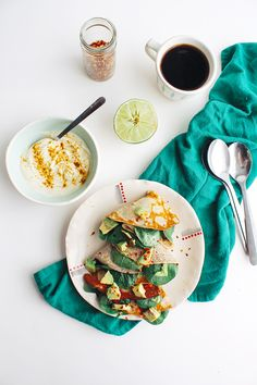 Spinach and Avocado Stuffed Cornmeal Crepes with Curry-Lime Cream