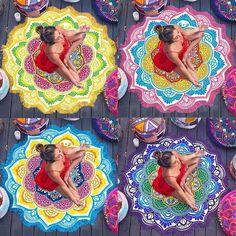 Mandala Round Flowers Tapestry Wall Hanging Beach Throw Towel Picnic Blanket Mat | eBay