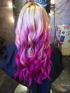 Ombre, Hair Painting, Neon Pink Pieces, Blonde to Fusia Pink #Inhairent http://inhairent.com