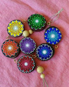 Dot Painted Wooden Mandala Set by DigsGroove on Etsy