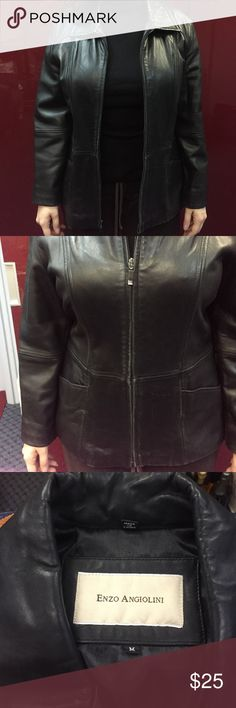 Enzo angiolini leather coat size M Enzo angiolini leather coat size M. Beautiful leather. There are two teeth missing on the bottom, so the zipping takes a little more time. Enzo Angiolini Jackets & Coats