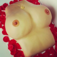 Boob Cake - #boob #boobies #cake #tits #breast #nipples #doubleD #jugs #sweets #fondant #vanilla #buttercream #customcakes #party #petals #cakeoutsidethebox