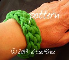 Bracelet PATTERN using T-Shirt Yarn Crochet Eco Friendly | Etsy Pdf Patterns, Clothing Patterns, Knitting Patterns, Crochet Patterns, Crochet Gifts, Crochet Yarn, T Shirt Bracelet, Cycling T Shirts, T Shirt Yarn