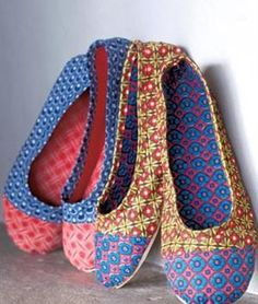 Very sweet little shoes made out of traditional South African fabric.