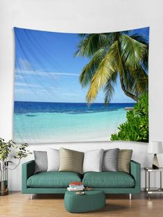 Sea Coconut Tree Tapestry Art Decoration - DEEP SKY BLUE W71 X L91 INCH Tree Tapestry, Hanging Wall Art, Tapestry Wall Hanging, Wall Hangings, Blanket On Wall, Cheap Wall Tapestries, Cool Walls, Art Decor, Sea Decoration