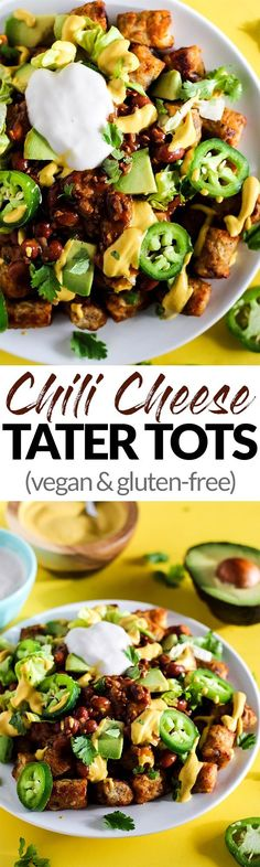 Serve up a plate of these Loaded Vegan Chili Cheese Tots as a delicious appetizer perfect for sharing! Full of bean chili, dairy-free cheese, and veggies. Mexican Food Recipes, Vegetarian Recipes, Dinner Recipes, Healthy Recipes, Chili Recipes, Healthy Snacks, Dairy Free Cheese, Vegan Chili, Menu