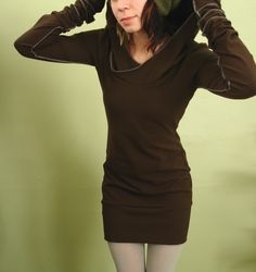 extra long sleeved hooded tunic dress Chocolate by joclothing, $65.00