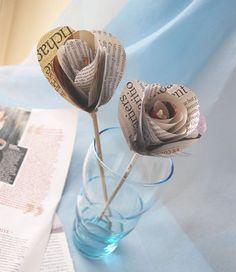 Rose en papier recup tuto ! Journal papier cadeau papier de soie ....
