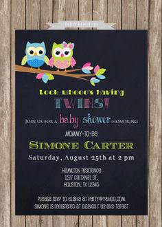 Twins Baby Shower InvitationOwls Chalkboard by PartyBeautiful, $14.00 how cute is this? @Miranda Johnson