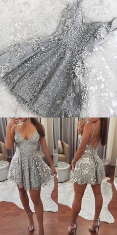 Silver Sequin Lace V Neck Tulle Homecoming Dresses Short Prom Gowns 2018 M3925