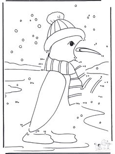 Winter Theme Coloring Pages | Crafts / Number picture / Connect the Dots - snowman