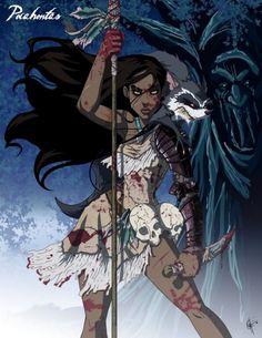 Zombie Disney - Pocahontas love it! Zombie Disney, Disney Punk, Princesas Disney Zombie, Creepy Disney, Film Disney, Disney Horror, Disney Pocahontas, Twisted Disney Princesses, Disney Amor