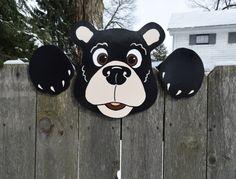 Black Bear Fence Peeker, Bear Fence Decoration, Outdoor Yard Art, Bear Fence Art, Bear Garden Decoration, Fence Sitter